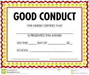 Award Certificate Good Conduct Stock Vector – Illustration inside Good Conduct Certificate Template