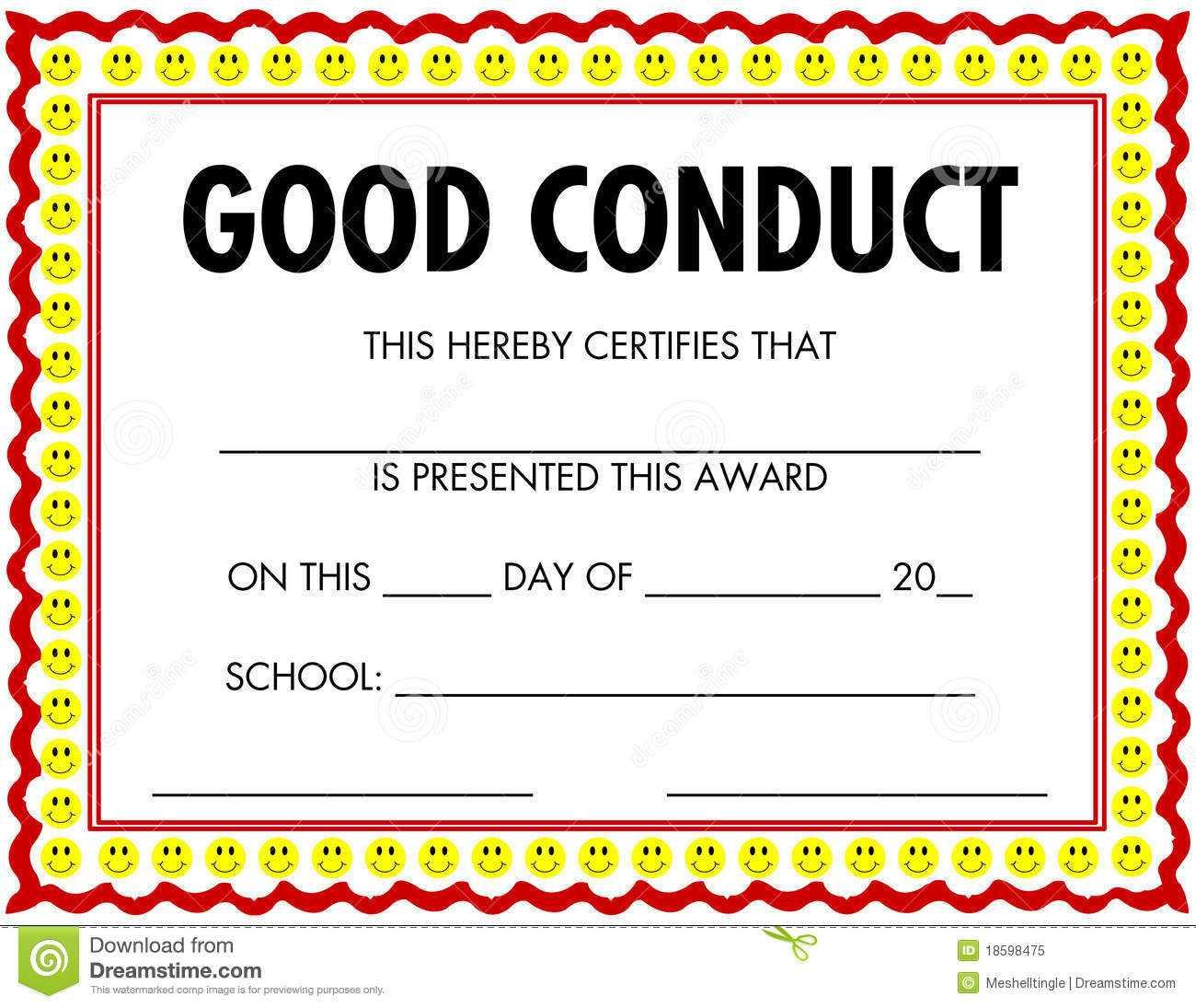 Award Certificate Good Conduct Stock Vector - Illustration Inside Good Conduct Certificate Template