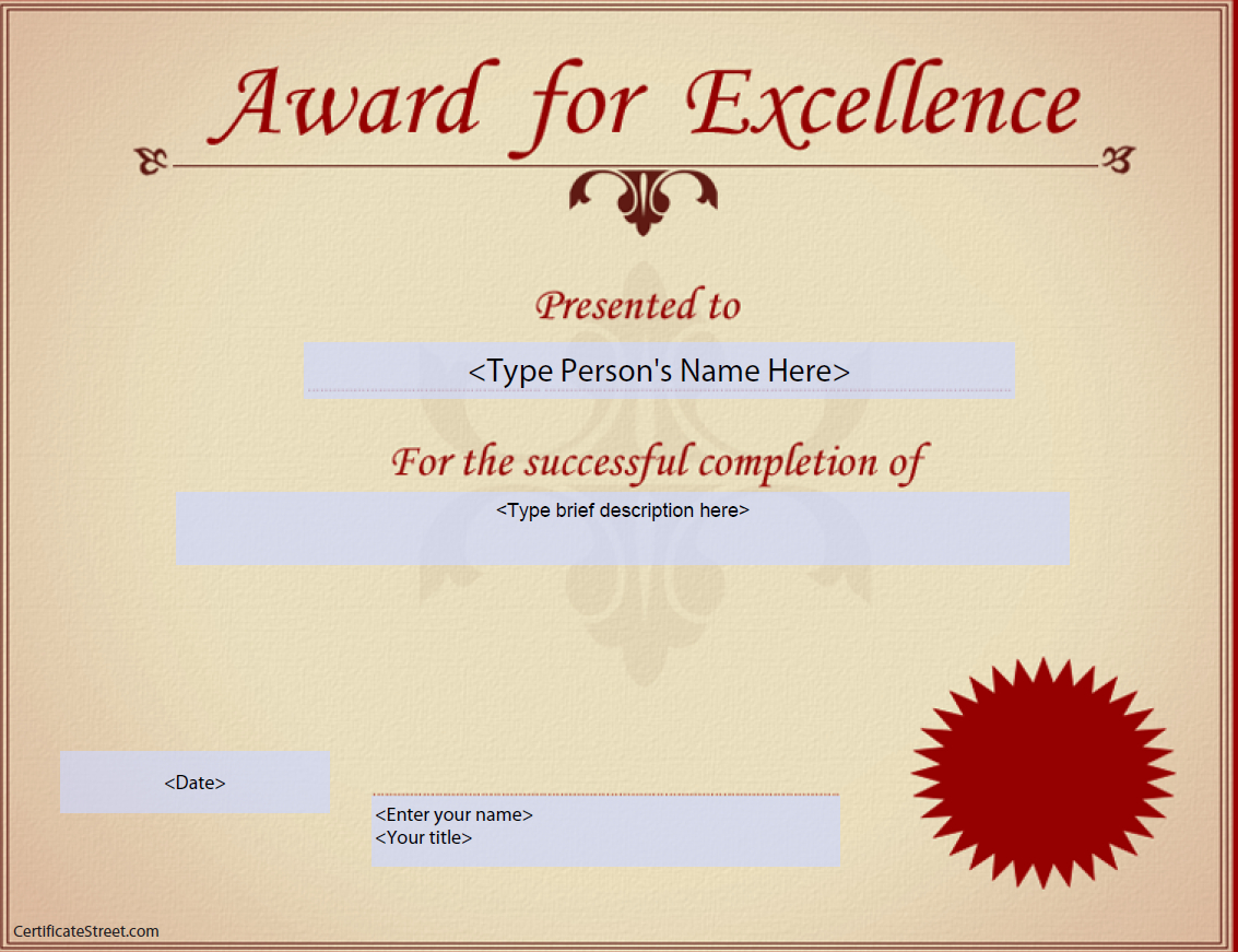 Award For Excellence Certificate | Templates At Intended For Award Of Excellence Certificate Template