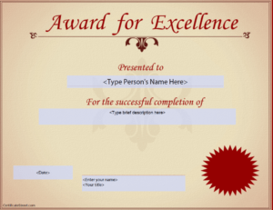 Award For Excellence Certificate | Templates At with regard to Life Saving Award Certificate Template