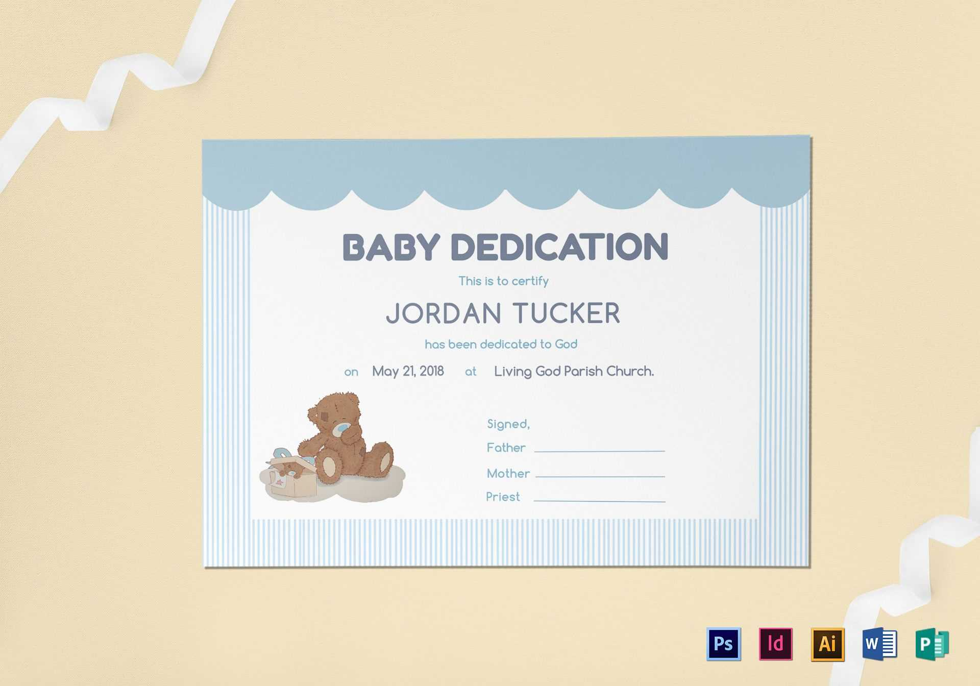 Baby Dedication Certificate Template In Baby Dedication Certificate Template