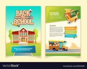 Back To School Brochure Cartoon Template regarding School Brochure Design Templates