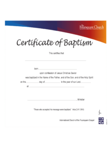 Baptism Certificate – 4 Free Templates In Pdf, Word, Excel in Baptism Certificate Template Download