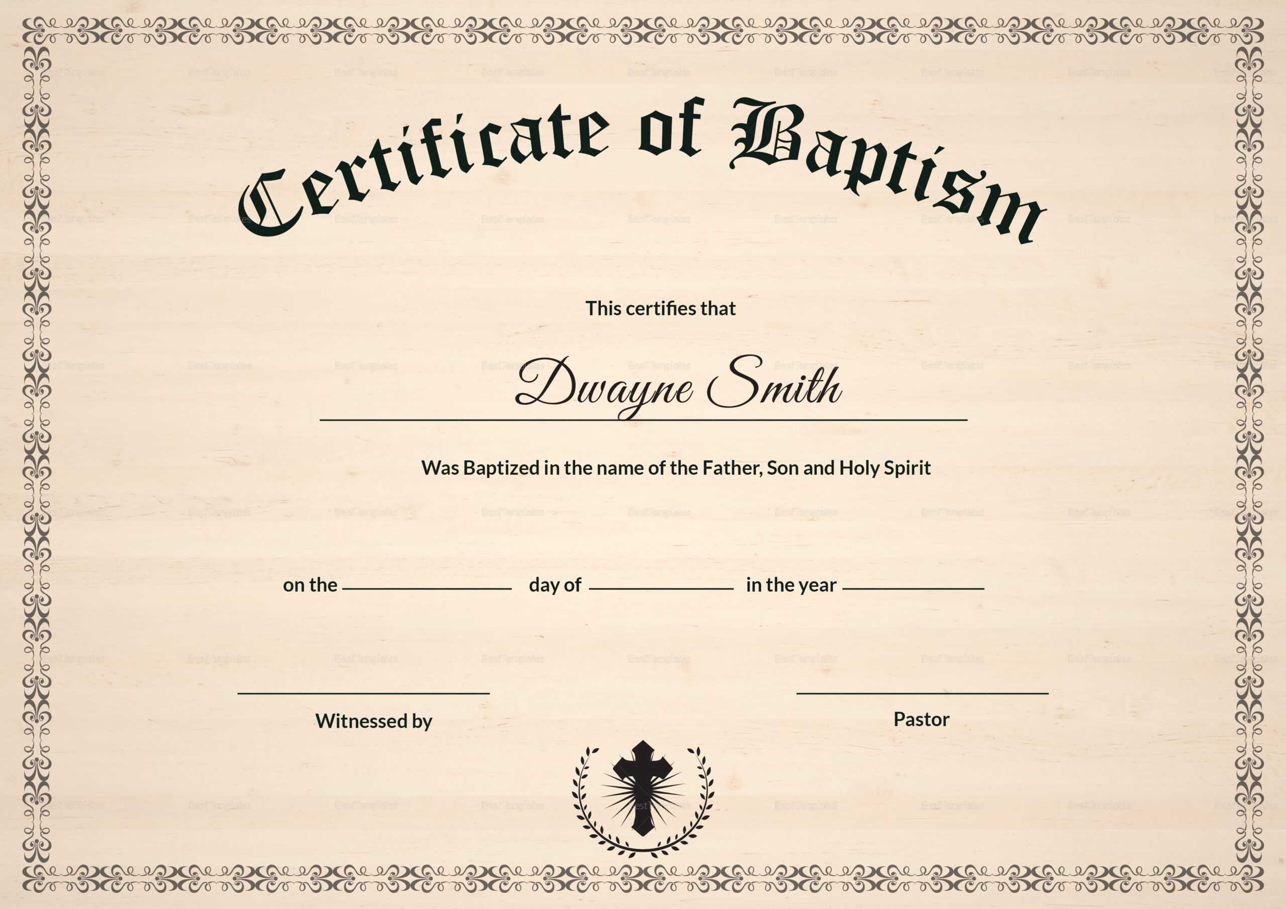 Baptism Certificate Template Regarding Baptism Certificate Template Download