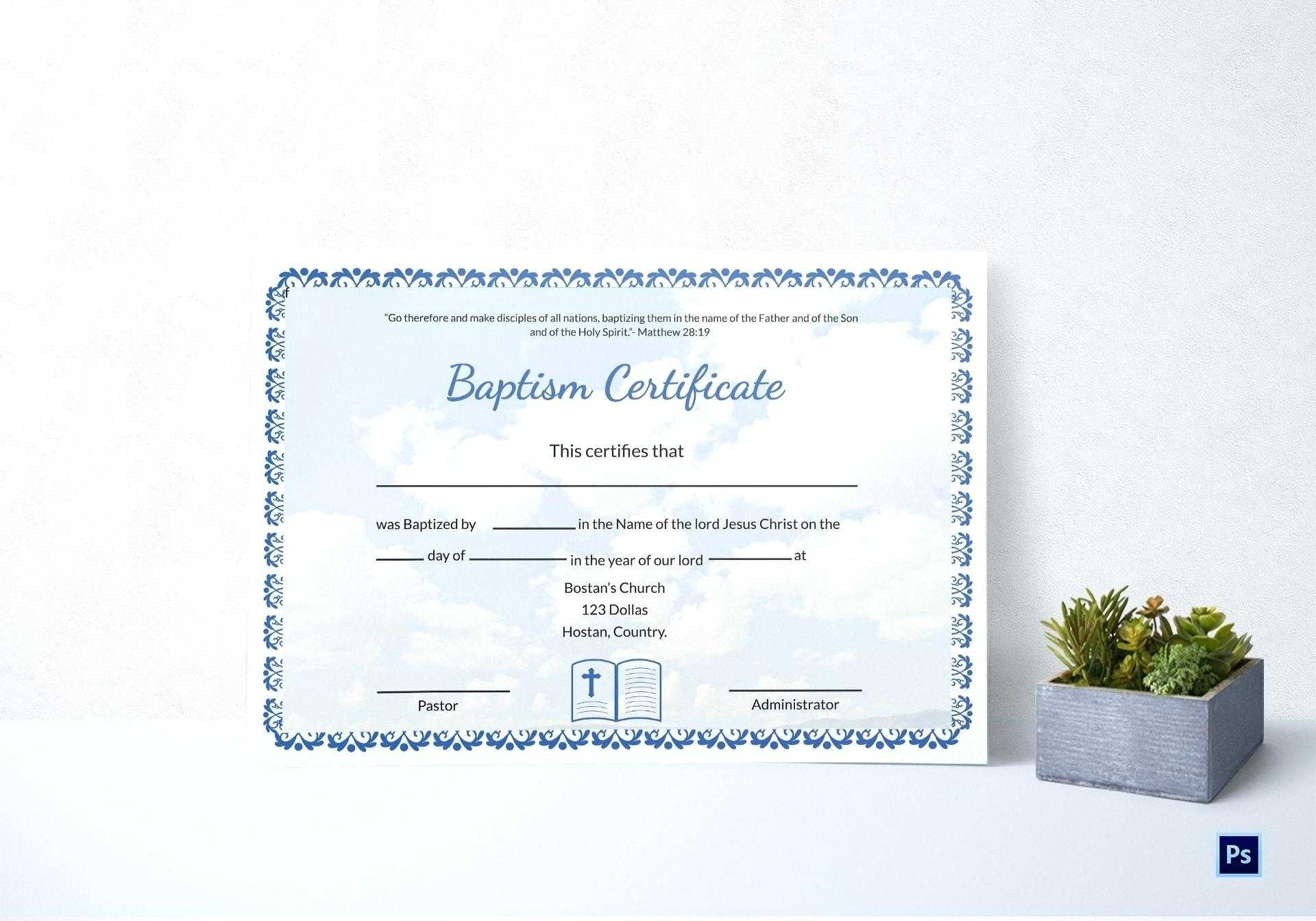 Baptism Certificate Template Word – Heartwork With Baptism Certificate Template Word