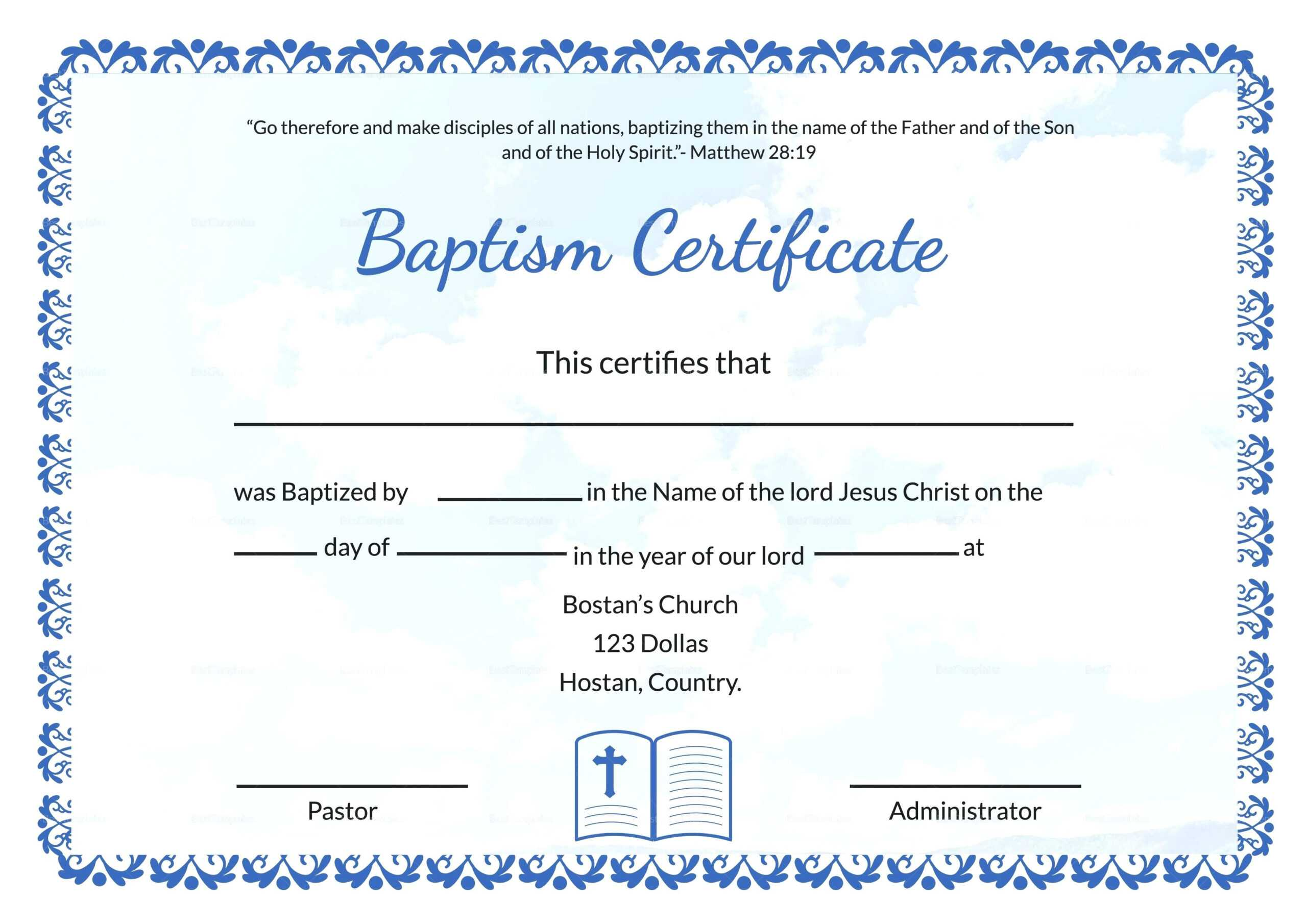 Baptism Certificate Template Word – Heartwork With Regard To Baptism Certificate Template Word