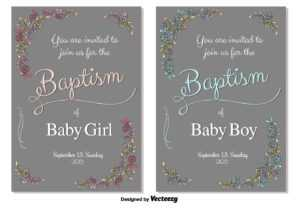 Baptism Vector Invitation – Download Free Vectors, Clipart with regard to Free Christening Invitation Cards Templates