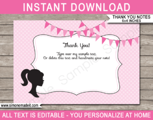 Barbie Party Thank You Cards Template throughout Soccer Thank You Card Template