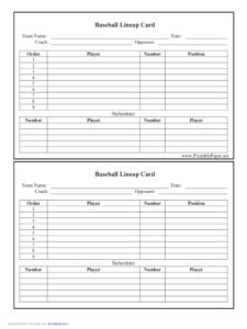 Baseball Lineup Card Free Download for Baseball Lineup Card Template