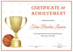 Basketball Achievement Certificate Template in Basketball Certificate Template