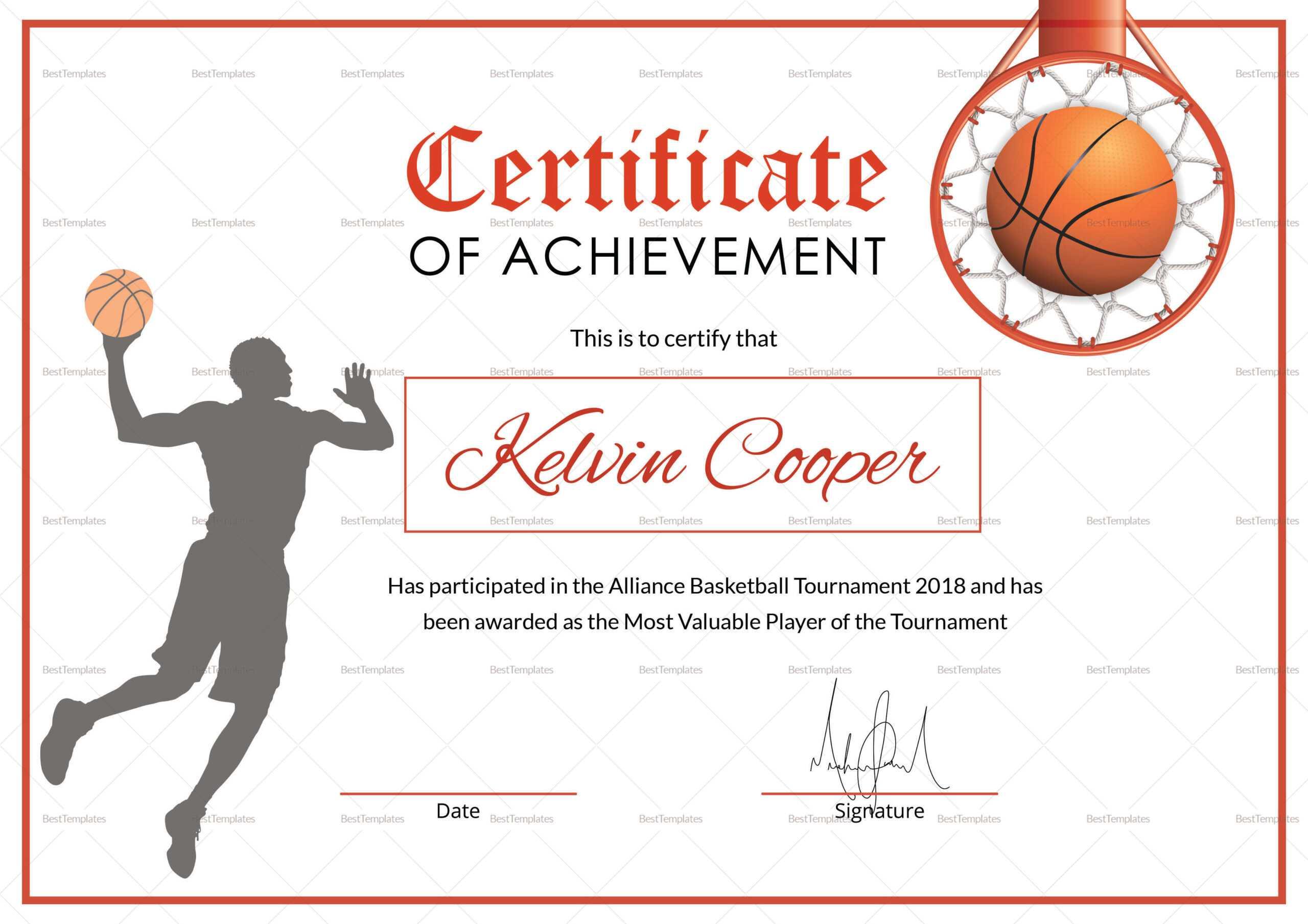 Basketball Award Achievement Certificate Template With Sports Award Certificate Template Word