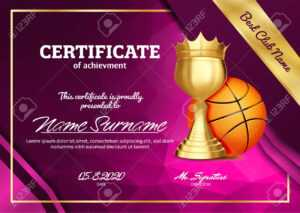 Basketball Certificate Diploma With Golden Cup Vector. Sport.. for Basketball Certificate Template