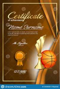 Basketball Certificate Diploma With Golden Cup Vector. Sport intended for Basketball Certificate Template