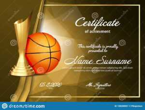 Basketball Certificate Diploma With Golden Cup Vector. Sport with regard to Basketball Certificate Template