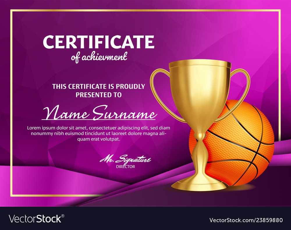 Basketball Certificate Diploma With Golden Cup With Basketball Certificate Template