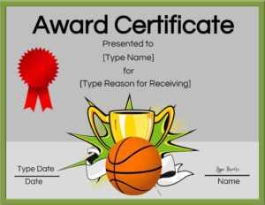 Basketball Certificates regarding Sports Award Certificate Template Word