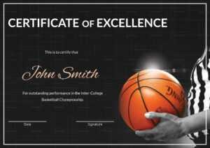 Basketball Excellence Certificate Template within Basketball Certificate Template