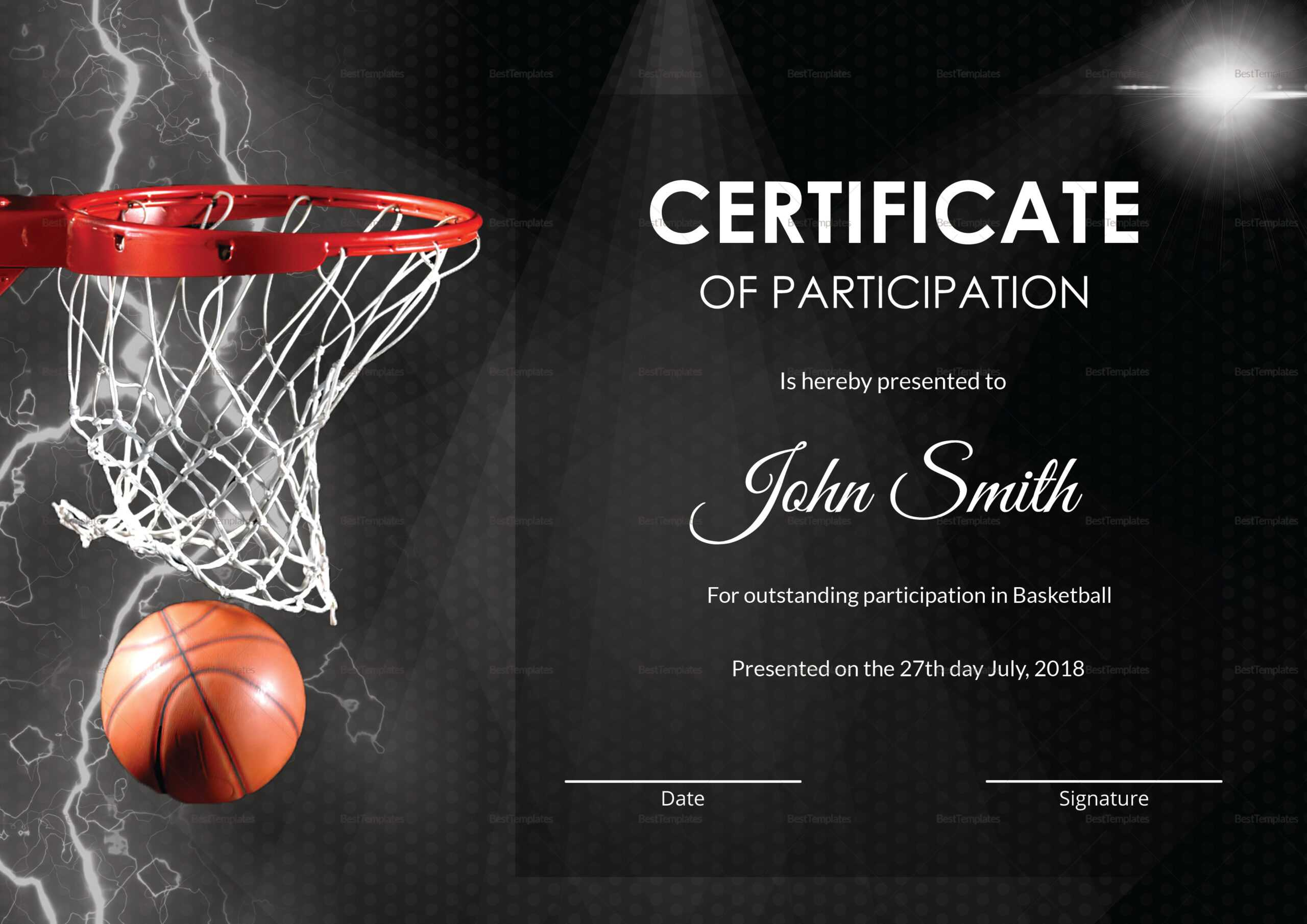 Basketball Participation Certificate Template Throughout Basketball Certificate Template