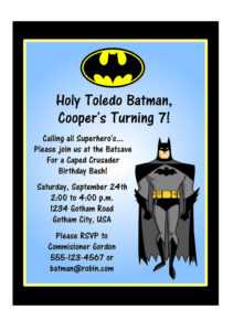 Batman Invitation Template within Batman Birthday Card Template
