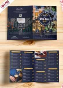 Beer And Wine Menu Bi-Fold Brochure Template Psd with Wine Brochure Template