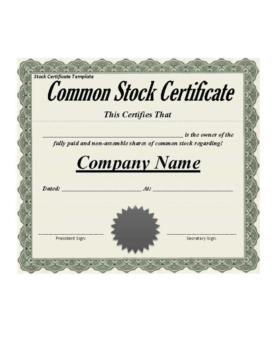 Best 3+ Stock Certificate Template Format Excel - You Calendars Throughout Blank Share Certificate Template Free