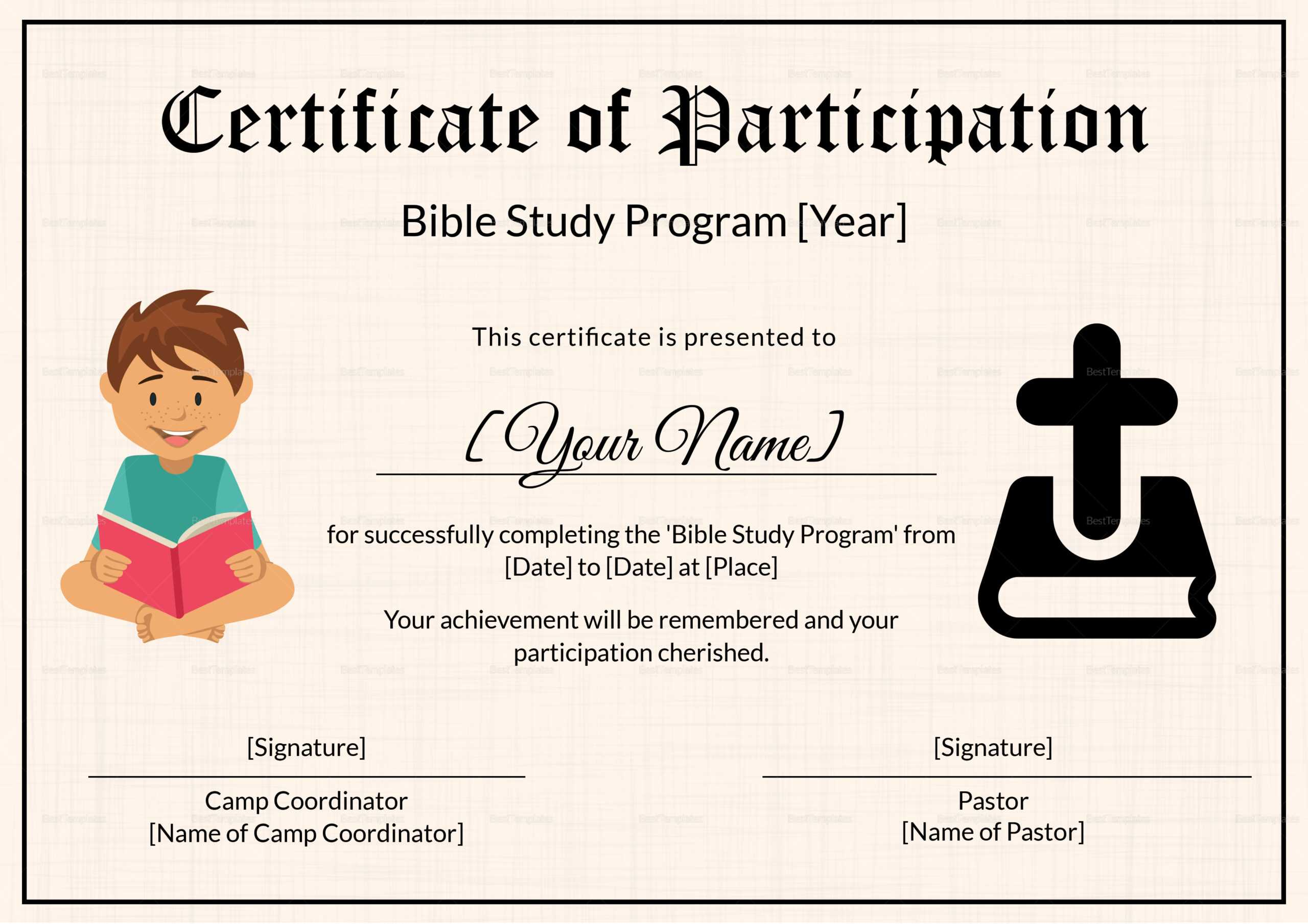 Bible Prophecy Program Certificate For Kids Template In Christian Certificate Template