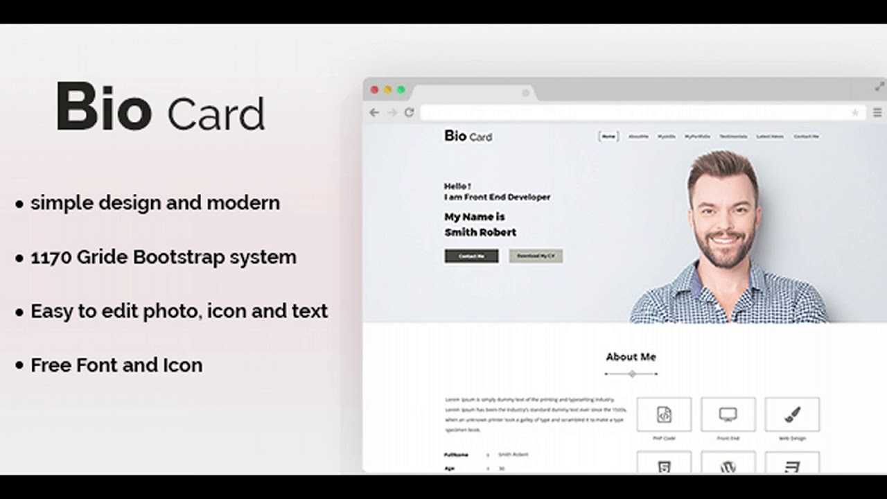 Biocard - Personal Portfolio Psd Template | Themeforest With Bio Card Template