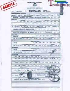 Birth Certificate Colombia Ii inside Birth Certificate Translation Template Uscis
