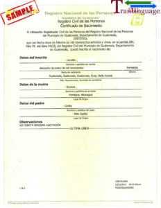 Birth Certificate Guatemala in Birth Certificate Translation Template English To Spanish