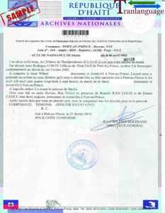 Birth Certificate Haiti I in Birth Certificate Translation Template English To Spanish