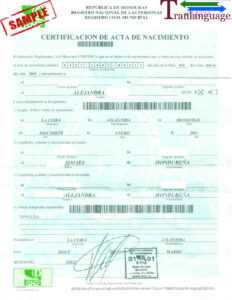 Birth Certificate Honduras intended for Birth Certificate Translation Template English To Spanish