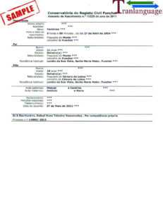 Birth Certificate Portugal throughout Birth Certificate Translation Template Uscis