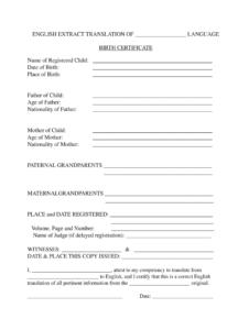 Birth Certificate Translation Template - Fill Online for Birth Certificate Translation Template