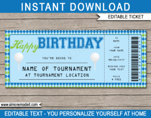 Birthday Golf Gift Tickets for Golf Certificate Template Free