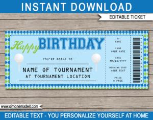 Birthday Golf Gift Tickets regarding Golf Gift Certificate Template