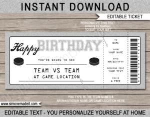 Birthday Hockey Gift Tickets with regard to Hockey Certificate Templates