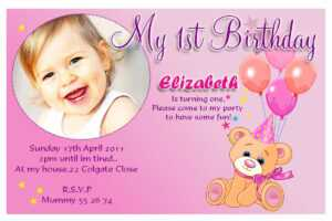 Birthday Party Invitation Card Design inside First Birthday Invitation Card Template
