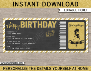 Birthday Tattoo Gift Vouchers with regard to Homemade Gift Certificate Template