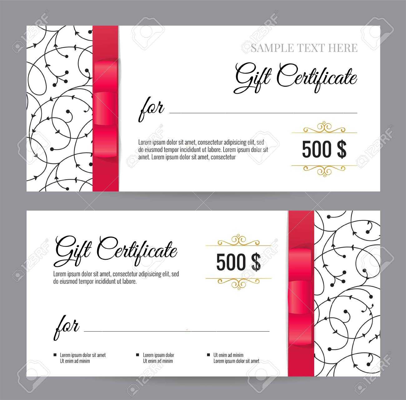 Black And White Gift Voucher Template With Floral Pattern And.. With Black And White Gift Certificate Template Free
