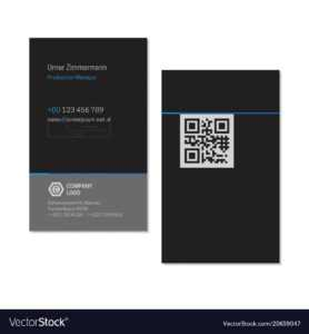 Black Elegant Name Card Template With Qr Code intended for Qr Code Business Card Template