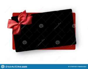 Black Greeting Or Gift Card Template With Red Satin Bow intended for Present Card Template