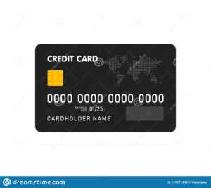 Black Simple Credit Card Template On White Background intended for Credit Card Templates For Sale