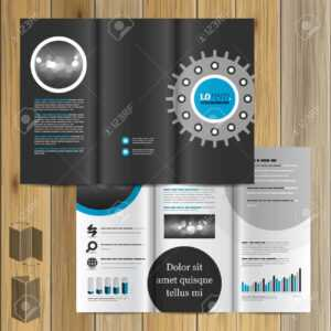 Black Technical Brochure Template Design With Cogwheel. Cover Layout within Technical Brochure Template