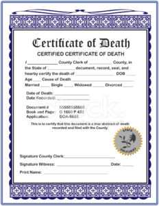 Blank Certificate Of Death Stock Photos – Freeimages with regard to Fake Death Certificate Template