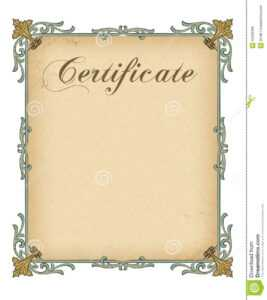 Blank Certificate Template Stock Illustration. Illustration intended for Blank Certificate Templates Free Download