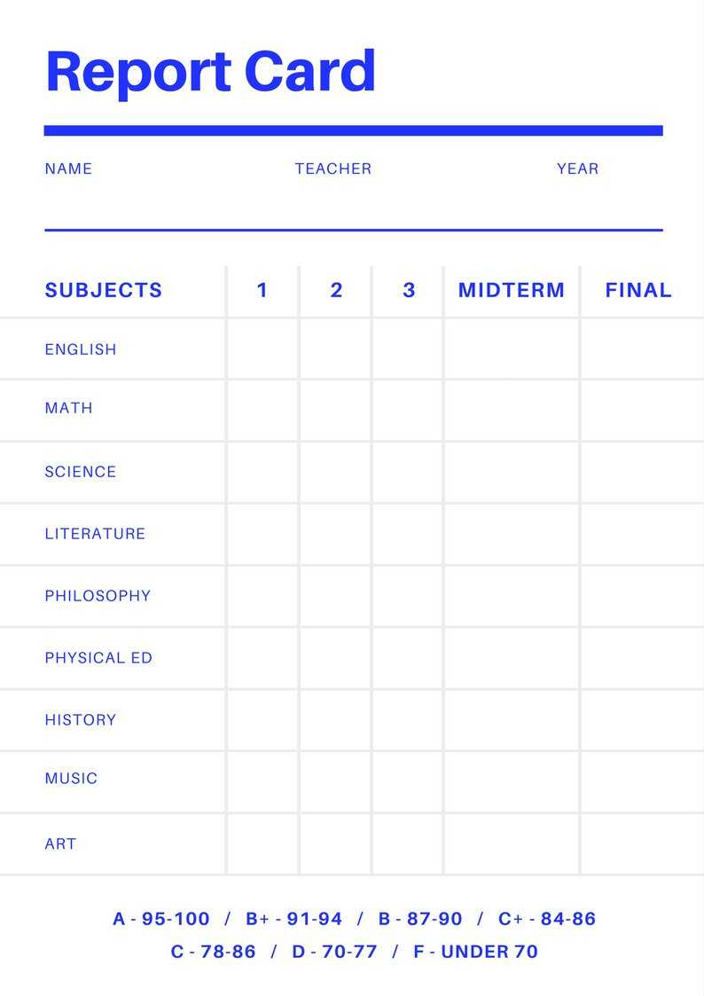 Blank Report Card Template - Best Professional Template For Blank Report Card Template