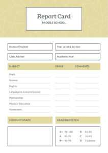Blue And Brown Middle School Report Card – Templatescanva throughout Middle School Report Card Template