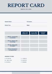 Blue And Gray Simple College Report Card – Templatescanva with College Report Card Template