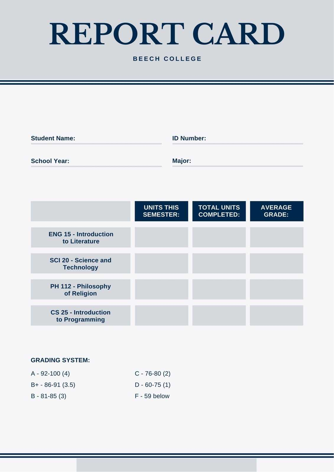 Blue And Gray Simple College Report Card - Templatescanva With College Report Card Template