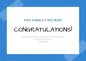 Blue Checkered Note With Tape Retirement Card – Templates inside Retirement Card Template